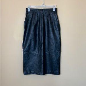 Vintage leather pencil skirt